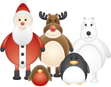 TenStickers. Winter Characters Sticker. A great design illustrating different winter characters such as Santa, reindeer, penguin, polar bear... Ideal from our set of penguin wall stickers.