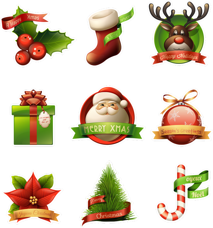 TenStickers. Christmas Spirit Stickers. A fantastic collection of Christmas wall stickers including many elements such as: a stocking, reindeer, mistletoe, trees, plants and Santa!