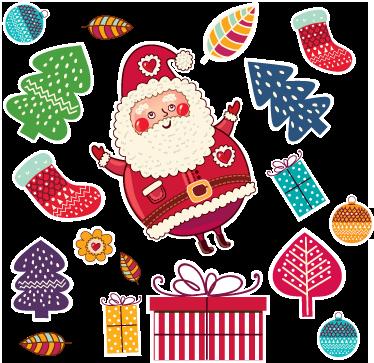 TenVinilo. Sticker adhesivo regalos navidad. Colección de pegatinas de inspiración navideñas con cajas de regalos, árboles y un divertido Papá Noel.
