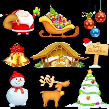 TenStickers. Wandtattoo Weihnachtselemente. Wandtattoos - Sticker Set mit verschiedenen Weihnachtsmotiven. Weihnachtsmann, Schlitten, Weihnachtskugeln, Rentier und vieles mer.