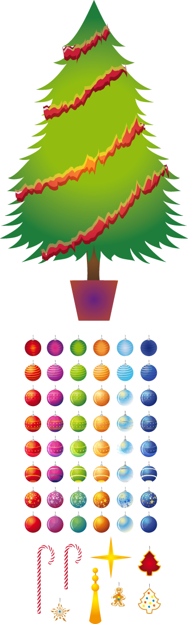 TenStickers. Christmas Tree Festive Decal. Christmas tree wall sticker - This decorative Christmas decal shows a Christmas tree decorated with colorful balls and garlands.