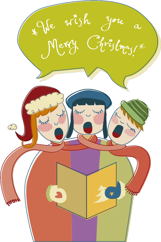 "TenStickers. Carol Trio Christmas Sticker. Decorate your home this Christmas with original decal of three people singing along to the famous Christmas carol ""We Wish You a Merry Christmas""."
