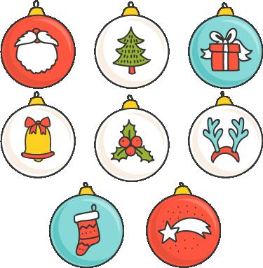 TenStickers. Autocolantes de festividades Conjunto de adornos de natal. Uma grande seleção de autocolantes de natal com desenhos de vários elementos relacionados com esta época festiva.