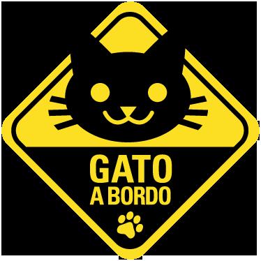 TenVinilo. Adhesivo gato a bordo. Indica con esta pegatina al resto de conductores que en tu vehículo viaja tu mascota. Pegatina gato a bordo ideal para la decoración de tu coche.