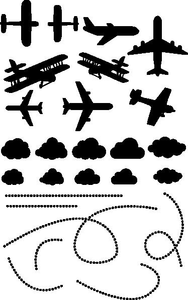 TenStickers. Otroška stropna letala nalepka. Otroške stenske nalepke - ustvarite vizijo letal na nebu s to ilustracijo, namenjeno stropu.