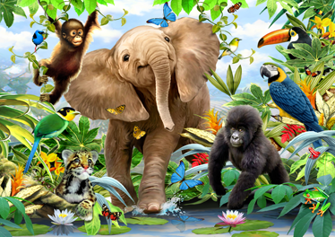 TenStickers. Jungle Animal  Wall Mural. Open a window on your wall that will take you to a jungle populated with many exotic animals from our collection of jungle wall stickers.