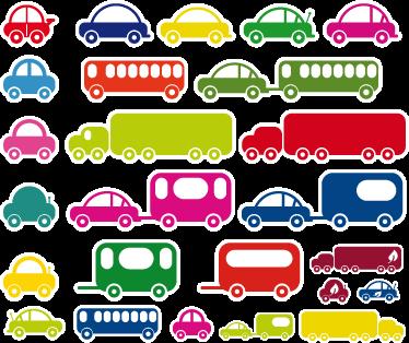 TenStickers. Sticker kinderkamer set voertuigen. Een leuke muursticker van allerlei verschillende voertuigen in mooie heldere kleuren. Een set wandstickers van bussen, auto's, vrachtwagens.