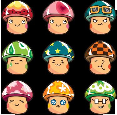 TENSTICKERS. カラフルなキノコのステッカー. 日本スタイルで描かれた9個のカラフルでアニメーション化されたキノコのコレクション。