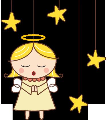 TenStickers. Majhna nalepka angela iz vrtca. Stenske nalepke za vrtce za okrasitev otrokove sobe. Odlična stenska nalepka pevskega angela, obdana z zvezdami!