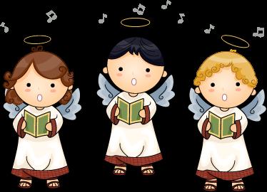 TenStickers. Nalepka za angelski zbor otrok. Ta nalepka za angelske stene treh pevskih angelov se idealno prilega v okolje z otroki. Popolna stenska dekoracija nad otrokovo posteljo.