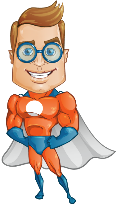 TenStickers. Smart Superhero with Glasses Sticker. Colourful comic style sticker of superhero with glasses looking all smart! Brilliant vinyl for the little ones to decorate their room.