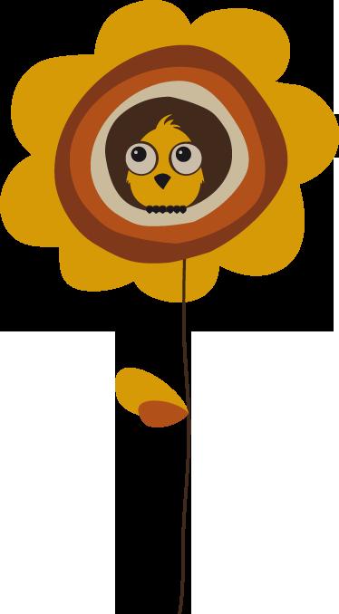 TenStickers. Sticker kind bloem en vogel. Deze muursticker omtrent een simpel, maar vrolijk ontwerp van een zonnebloem met een musje. Ideaal voor kinderen!