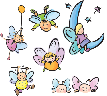 TenStickers. Angels Set Baby Sticker. Collection of different angel wall art stickers for children. Different angels from one sleeping to another flying away holding a balloon.