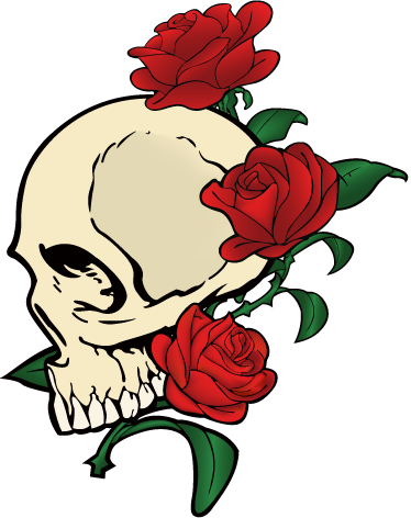 TenStickers. Skull & Roses Laptop Sticker. Laptop Stickers - Tattoo inspired design. Great for customising your laptop.*Sticker sizes may vary slighty depending on the size of the device.