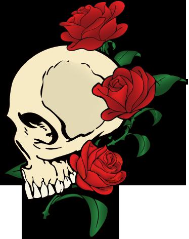 TenStickers. Nalepka za prenos lobanje in vrtnice. Nalepke za prenosnike - oblikovanje z navdihom za tetovaže. Odlično za prilagajanje prenosnika. * velikosti nalepk se lahko nekoliko razlikujejo glede na velikost naprave.