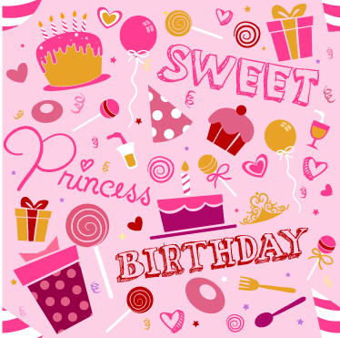 TenStickers. Kids Birthday Princess Vinyl Sheet Sticker. Vinyl Stickers - A fun and playful design with a birthday theme ideal for celebrations.