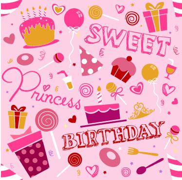 TenStickers. Revêtement adhésif anniversaire fille. Célébrez comme il se doit l'anniversaire de votre petite princesse avec ce sticker rose spécial birthday.
