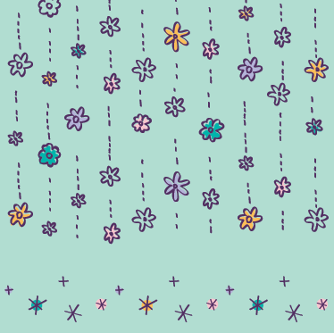 TenStickers. Raining Flowers sticker. Colourful floral pattern sticker to decorate the walls of your home in an original way.