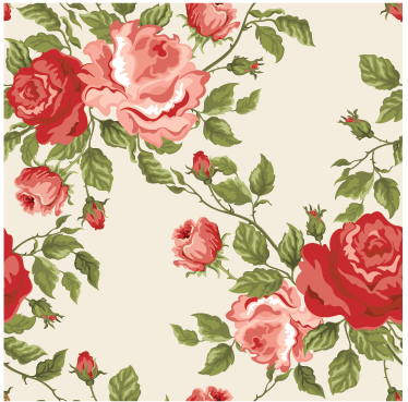 TenStickers. Wall of Roses Sticker. Nice wallpaper sticker with a floral pattern that will give a classic look to your walls.