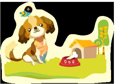 TenVinilo. Adhesivo perro en prado. Original y colorido vinilo de un sonriente cachorro en el precioso jardín de su casa.