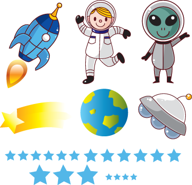 TenStickers. The Space Explorers Wall Stickers. Kids Wall Stickers - Fun and playful illustrations of a young explorer and with an alien friend exploring the universe.