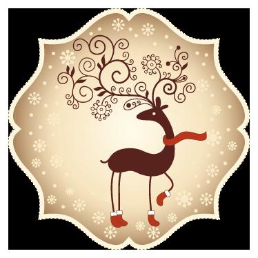 TenStickers. Autocollant renne Papa Noël. Stickers mural illustrant un renne du Père Noël avec bottes et écharpe.Adhésif applicable aussi bien dans un salon ou sur une vitrine de magasin à l'approche de la fête de Noël.