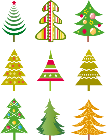 TenStickers. Christmas trees sticker. A sticker representing a set of christmas trees. Great for decorating your shop window or even home.