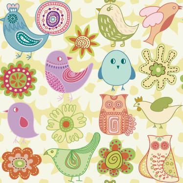 TenVinilo. Vinilo pared Pieza vinilo infantil aves. Mural adhesivo para habitación infantil con un original y tierno estampado de aves y flores de diferentes colores. +10.000 Opiniones satisfactorias
