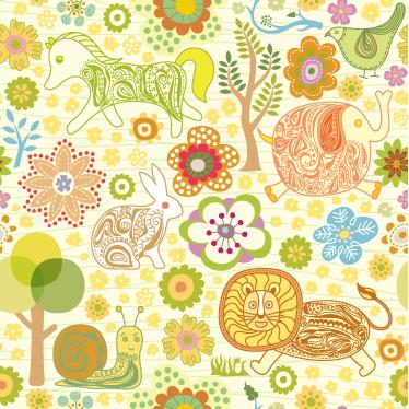 TenStickers. Otroški naravi vinilni list. Vinilne nalepke - zabaven in igriv dizajn z živalsko tematiko, idealen za okrasitev sob za otroke.