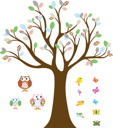 TenStickers. Forest Tree with Birds Kids Sticker. One of our designs from our owl wall stickers collection illustrating a colourful bush, tree owls, various birds and some butterflies.