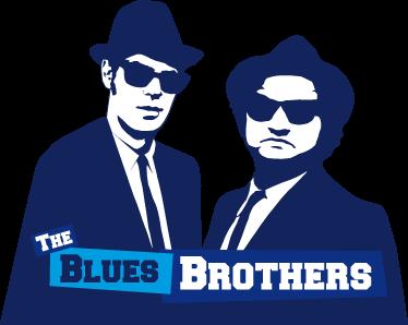 TenVinilo. Adhesivo the blues brothers. Espectacular vinilo de los dos famosos personajes principales de este grupo de soul con su característico atuendo.