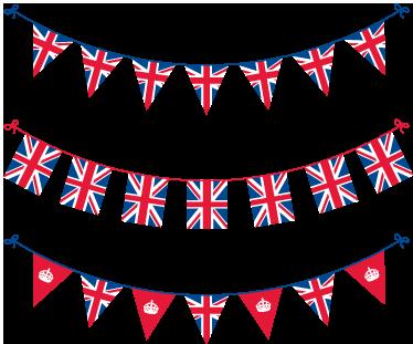 TenStickers. Naklejka na ścianę Flagi Wielka Brytania. Naklejka na ścianę składająca się z kolekcji małych flag reperezentujących barwy narodowe Wielkiej Brytanii. Dla wszystkich patriotów Anglii.
