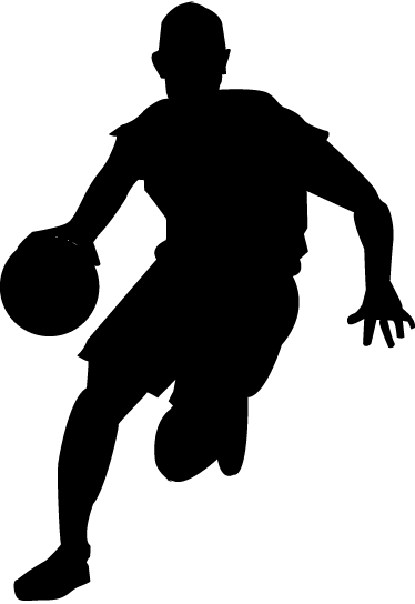 TenStickers. Basketball Dribbling Silhouette Wall Sticker. Basketball wall sticker showing a silhouette of a player in action dribbling the ball, part of our sports wall stickers collection. Personalise the walls of any child's bedroom or sports centre with this simple but effective silhouette decal.