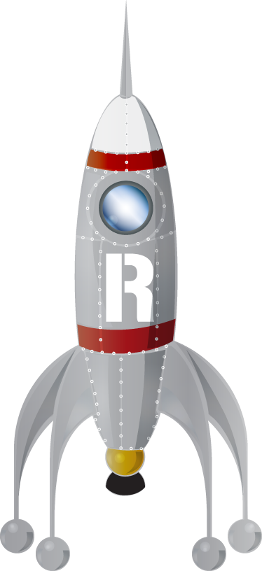 TenStickers. Rocket Kids Sticker. Kids Stickers - Rocket ship illustration. Ideal for aspiring space explorers. Great for decorating kids bedrooms and play areas.