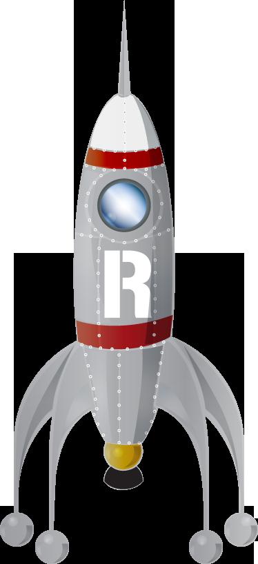 TenStickers. Adesivo bambini razzo R. Usalo per decorare la cameretta dei tuoi bimbi e fa' che possano sognare di essere dei veri astronauti.