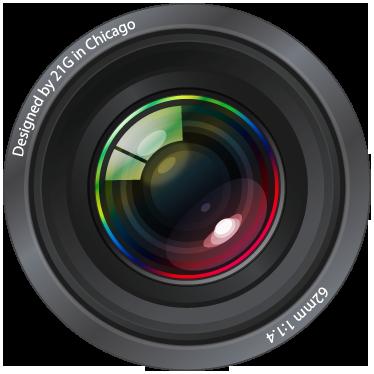 TenVinilo. Adhesivo decorativo lente fotografía. ¿Eres fotógrafo profesional? Decora tu negocio con este objetivo hiperrealista en pegatina adhesiva.