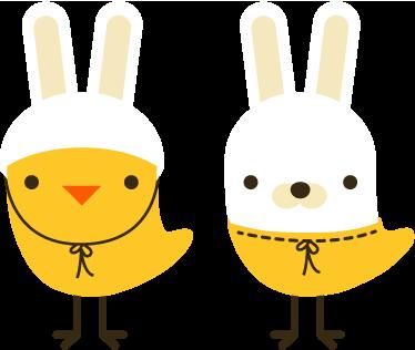 TenStickers. Autocolante infantil pintinhos vestidos de coelho da páscoa. Design original de dois pintinhos com máscaras de coelho da nossa excelente coleção de autocolantes decorativos infantis.