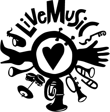 TenStickers. Sticker decorativo live music. Adesivo murale che raffigura un logo ispirato al mondo della musica, con diverse illustrazioni di strumenti musicali.