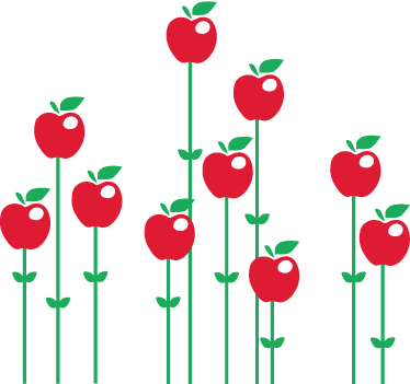 TenStickers. Apple Blossom Wall Sticker. Kitchen Stickers - An illustration of various bright red apples emerging from the ground up, supported by green shoots. Decals great for decorating your kitchen or dinning area.