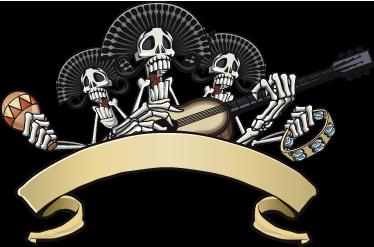 TenVinilo. Vinilo decorativo esqueleto mariachis. Terrorífico adhesivo de una banda de tres músicos mexicanos algo flacos y desmejorados.
