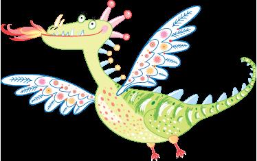TenStickers. 孩子们漂亮的龙墙贴. 孩子们的墙贴-一条漂亮的飞龙的顽皮和有趣的插图。装饰儿童区的理想选择。提供各种尺寸。