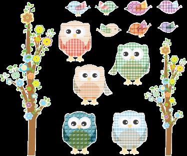 TenVinilo. Sticker adhesivo lechuzas y gorriones. Colección de pegatinas de distintos búhos y pájaros con estampado de cuadros y margen blanco.*Las medidas indicadas son sobre el conjunto de diseños.