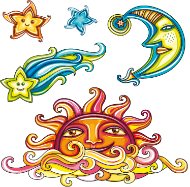 TenStickers. Sky Elements Wall Decals. A kids decal collection of colourful and vibrant illustrations including the sun, moon and stars. Design from our star wall stickers collection.