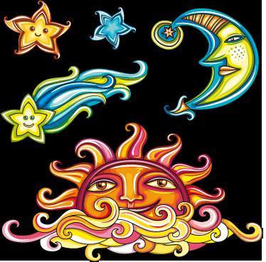 TenVinilo. Stickers adhesivos elementos cielo. Colorida colección de pegatinas con la ilustración de un cometa, el sol, la luna y un par de estrellas.