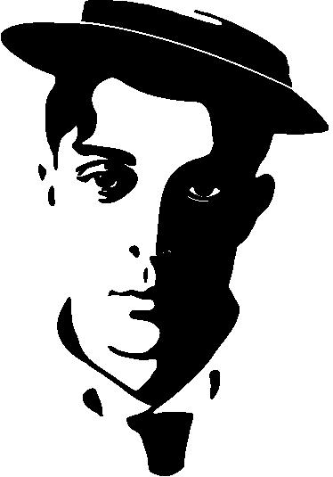 TenStickers. 버스터 키튼 시네마 데칼. 가장 유명한 무성 영화 배우 중 하나 인 버스터 키튼의 합성 초상화가있는 멋진 영화 벽 스티커.