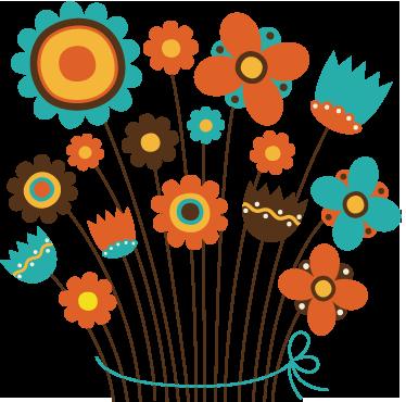 Tenstickers. Syksyn kukkalaskukortti. Lasten seinätarrat - kimppu luonnonvaraisia kukkia, lämmin syksyn väri, oranssi ja ruskea. Ihanteellinen seinien koristamiseen
