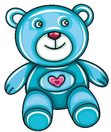TenStickers. Wandtattoo Kinderzimmer Bärchen. Wandtattoo für das Kinderzimmer: Ein süßer Azur-blauer Teddybär, mit einem niedlichen Herzen auf der Brust.