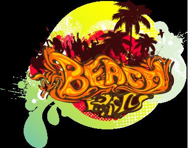 TenStickers. Muursticker Strandfeest. Leuke strand muursticker! Deze beach wand decoratie en strand muursticker. Deze strand sticker in verschillende afmetingen. Beach tekst muursticker!