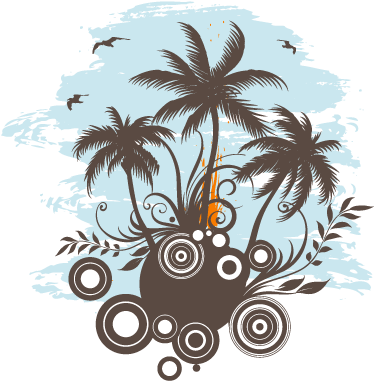 TenStickers. Tropical Island Sticker. Amazing sticker to of a hot island with palm trees. Perfect decal to decorate your home  and make it your own tropical island!