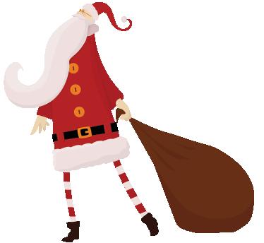 TenVinilo. Adhesivo decorativo Papa Noel y saco. Elegante pegatina de un estilizado Santa Claus transportando un gran saco lleno de regalos.
